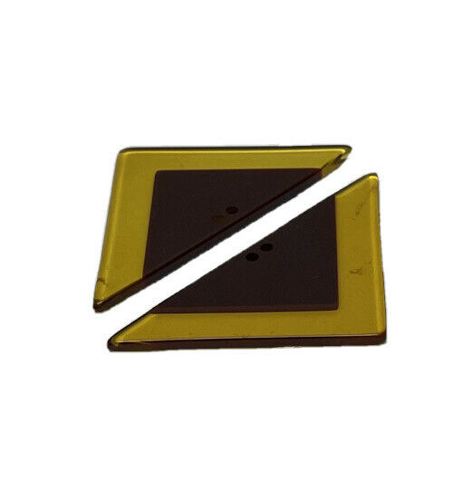 Lot 2 Multicolor Yellow Brown Geometric Triangle Apple Juice Bakelite Button