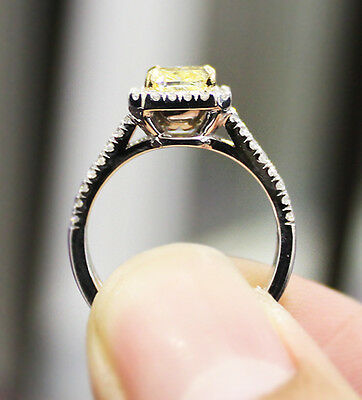 2.40 Ct. Cushion Cut Split Shank Halo Pave Diamond Engagement Ring GIA Certified 2