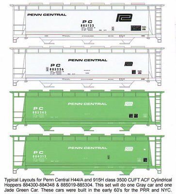 (HO F-277 Penn Central 3500 CUFT Covered Hopper Decals by Highball Graphics CR EL)