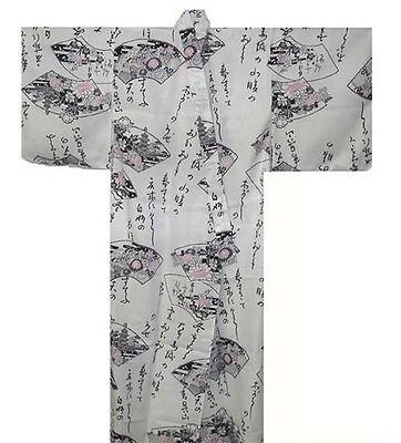 Japanese Women Yukata Kimono Robe Kanji Made in Japan 56