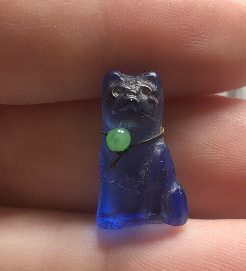 Vintage Czech Glass Cat W/ Collar Cracker Jack Perfume Charm