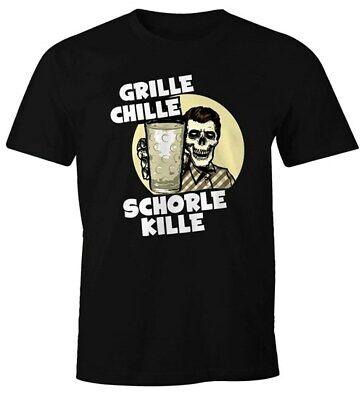 Herren T-Shirt Grille Chille Schorle kille Spruch Skull Dubbeglas Fun-Shirt