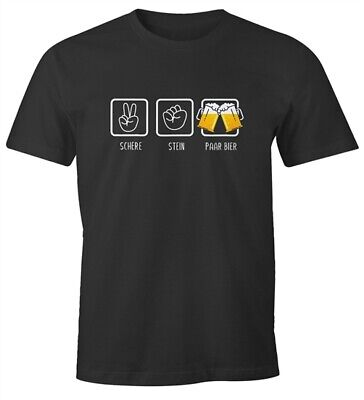 Bier-lustiges T-shirt (Herren T-Shirt Schere, Stein, paar Bier lustiges Trink Shirt Saufen Bier Party)