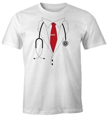 Herren T-Shirt Chef Arzt Arztkittel Doktor Kostüm Fasching Karneval - Arzt Kostüm Shirt