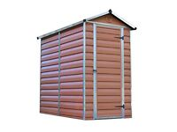 Brown plastic and aluminium frame garden shed