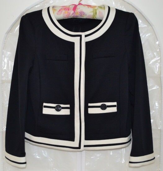 Zara Basic Navy Blue & Cream Jacket Size Small