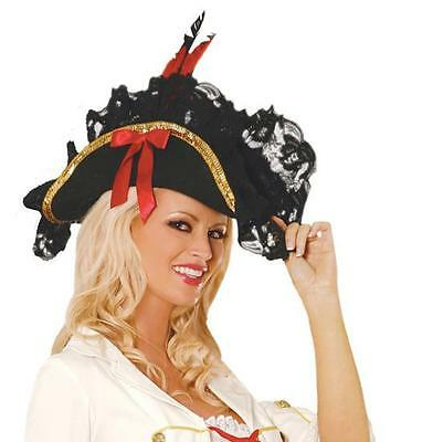 Pirate Hat With Feather (Pirate Hat Lace Feather Bow Details Buccaneer Swashbuckler British Navy)