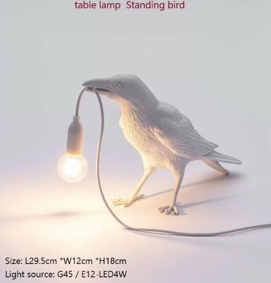 White Crow Animal Night Office Working Lamp Designer Resin LED Bulb Aus Plug