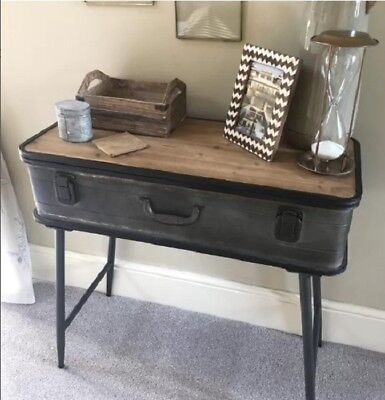 Industrial Console Table Vintage Hallway Furniture Rustic Side Cabinet Metal Leg