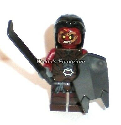 Lego Lord of the Rings Minifigure, URUK-HAI w/ Black Hair, Sword & Shield