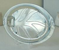 "Blue Tint Depression Glass PYREX  Platter w Juice Well 14.5"""