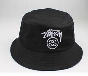 Black Vintage Retro Bucket Hat // Summer Unisex Black Sun Fishing Cap //