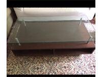 Wood glass coffee table - living room table