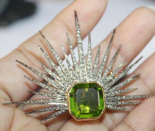 3.10ct ROSE CUT DIAMOND PERIDOT ANTIQUE LOOK 925 SILVER VALENTINE BROOCH PIN