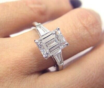 1.24Ct Emerald Cut Three Stone Baguette Side Diamond Engagement Ring G,VVS2 GIA