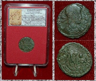 Ancient Roman Empire Coin Of CONSTANS Emperor On Galley Holding Phoenix On Globe