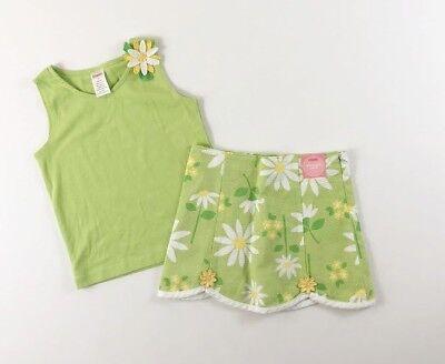 Gymboree 4 Girls Daisy Chain Green Tank Top Shirt & Skirt/Skort Set NEW!