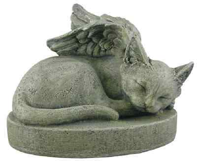Cat Angel Memorial Statue Sympathy Pet Stone Sculpture Garden Yard Patio Home