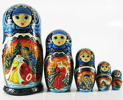 """Used, Great Matryoshka Nesting dolls """"Jack Frost"""" Santa Claus Hand Painted 5pcs #2 for sale  Shipping to Canada"""