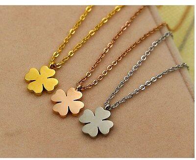 Titanium Stainless Steel 18K Gold Four leaf Clover Pendant Necklace Gift Box PE8 18k Titanium Necklace
