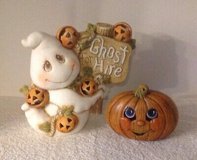 "CERAMIC MOLD HALLOWEEN 9.25"" GHOST FOR HIRE PUMPKIN HAND PAINTED FALL DECOR CUTE"