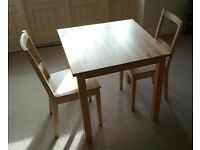 Dining table and chairs set for 2