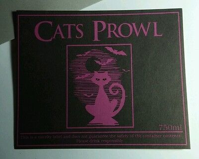 CATS PROWL CAT BAT PURPLE MD MEDIUM 4x5 HALLOWEEN WINE BOTTLE LABEL  STICKER](Wine Bottle Halloween Crafts)