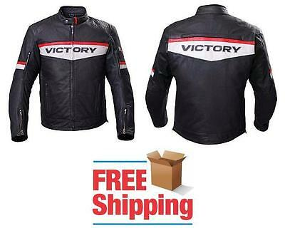 Victory Brand Motorcycle Jacket Leather W/ Zip Out Vest Shoulder Elbow Armor