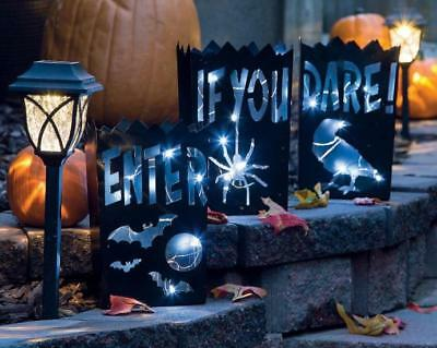 Set of 3 Halloween Haunted House Vintage Luminary Decorations ea. 10