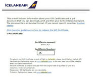 Icelandair Gift Certificate $650.00 value for $500.00