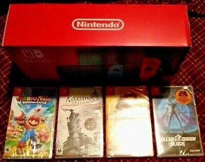 BRAND NEW Nintendo Switch System Console Bundle with 5 Games +BONUS Joy Con Skin