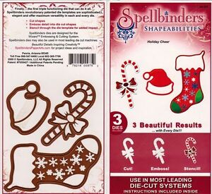 Spellbinder Shapeabilities Holiday Cheer (stocking,cane,hat)-$20
