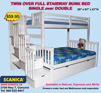TWIN FULL STAIRWAY BUNK BEDS, FULL OVER FULL STAIRCASE BUNK BEDS