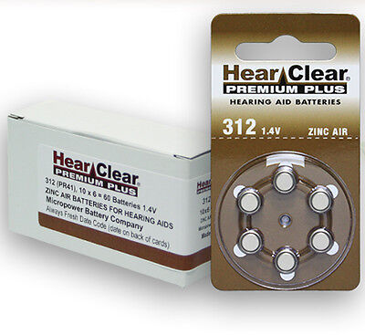 HearClear Hearing Aid Batteries Size 312 (60 Batteries)