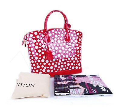 New Louis Vuitton Yayoi Kusama Dots Infinity Lockit MM Red 100% Auth