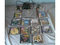 Playstation 1 12 Games, 3 Controllers and all wires