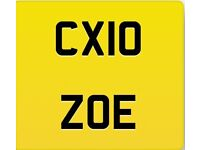 Personalised number plate with retention document. CX10 ZOE. Brought for £800