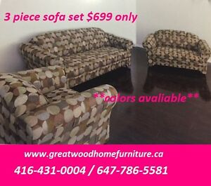 CANADIAN MADE 3 PIECE SOFA SET..$699..COLORS AVAIALBLE
