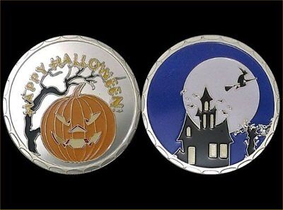 Halloween Pumpkin and Witch on Broom Glow in the Dark Full Moon Coin and Capsule