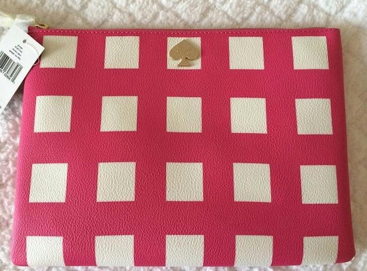 KATE SPADE NEW YORK CHECKER PLACE GEORGIE POUCH / CLUTCH