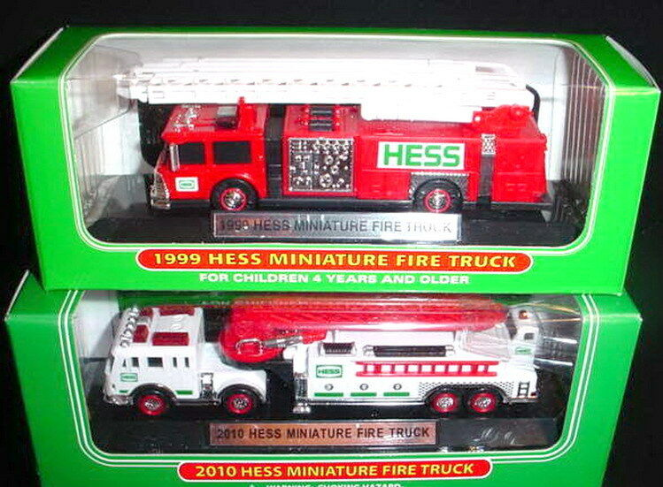 2010 & 1999 MINI HESS FIRETRUCKS FRESH OUT OF THE CASES