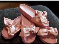 Brand new pink ribbon sliders