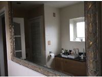 ORNATE MIRROR, FOOTSTOOL & WOODEN BLIND FOR SALE