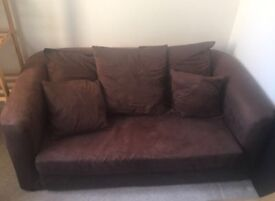 Brown suede double sofa bed