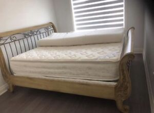 King size taupe/beige wooden bed frame, orthopaedic mattress