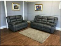 😎BRAND NEW CHELSEA BONDED LEATHER RECLINER 3+2 SEATER SOFA SUITE WITH CUPHOLDER IN BLACK OR GREY