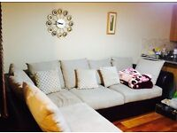 Gorgeous Comfy Suede & Leather Corner Sofa