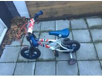 """Team GB 12in"""" Childrens boys Bike/Bicycle with stabilisers ages 3/4/5 years £20"""