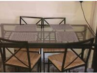 Ikea glass dining table and chairs