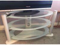 Contemporary white glass tv unit